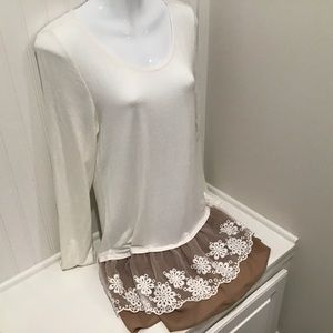 Dress Medium White and Bottom Tan/Lace by Jodifil